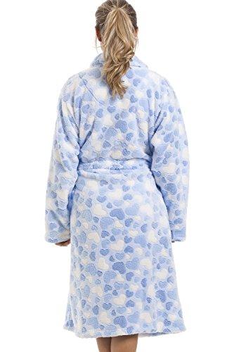 Camille - Damen Bademantel aus superweichem Fleecematerial - Hellblau mit Herzmuster Blau