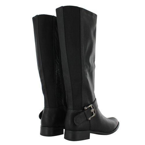 Damen Reitstiefel mit niedrigem Schlupf Winter Stiefel lang mit Reißverschluss, Größe 3, 4, 5, 6, 7, 8 Schwarz (Black Pu)