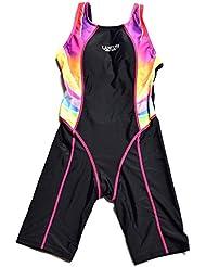 Bwiv maillot de bain de competition 1 pièce fille aux genoux maillot de natation pour filles de 2-15 ans