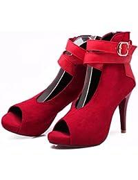 Europa y los Estados Unidos de verano tabla impermeable, zapatos de mujer, hebilla, boca de pescado sandalias, alta grandes zapatos, los zapatos de tacón alto,gules,42