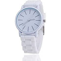 11 colours Ladies brand GENEVA Watch Classic Gel Silicone Jelly watch (White + White Face)