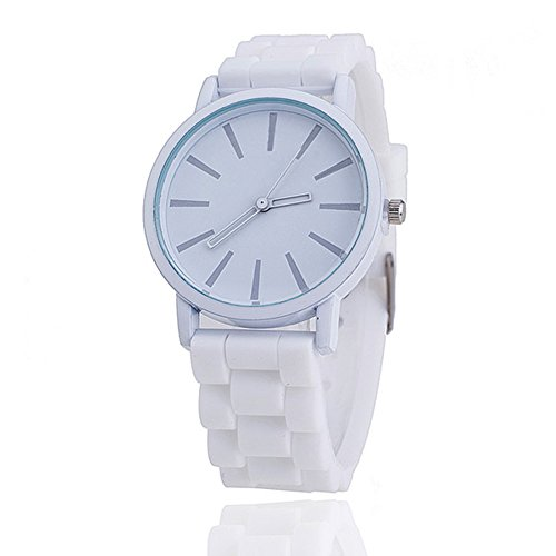 Price comparison product image 11 colours Ladies brand GENEVA Watch Classic Gel Silicone Jelly watch (White + White Face)