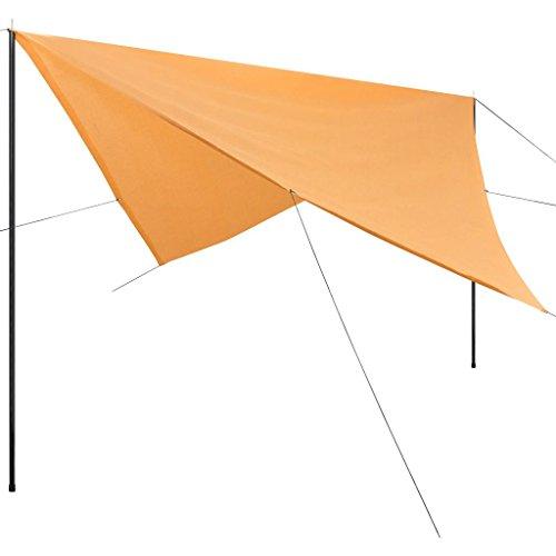 vidaXL Sonnensegel mit Gestell HDPE Quadratisch 3 x 3 m Beige