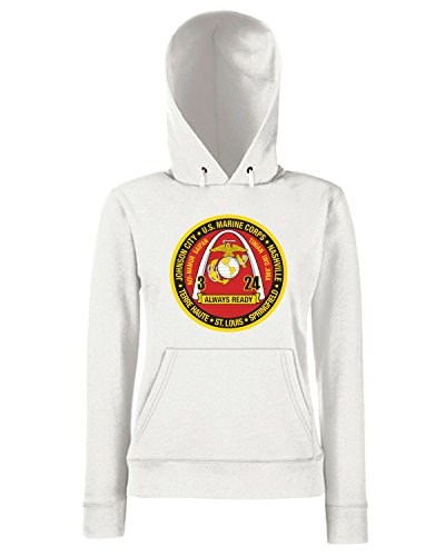 T-Shirtshock - Sweats a capuche Femme TM0343 3rd Battalion 24th Marine Regiment USMCR usa Blanc