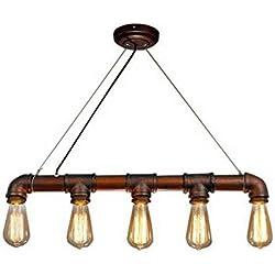 Lightess Lámpara de Tubo Lámpara Industrial Lámpara Vintage Lámpara de Techo Colgante Lámpara 5 Portalámparas, No Incluye Bombillas, Color de Herrumbre.