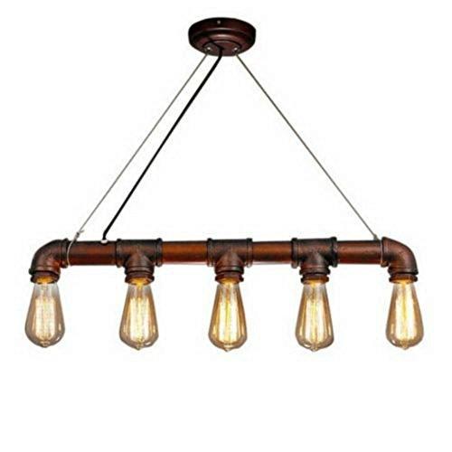 Lightess Lámpara de Tubo Lámpara Industrial Lámpara Vintage Lámpara de Techo Colgante Lámpara 5 Portalámparas, No Incluye Bombillas, Color de ...