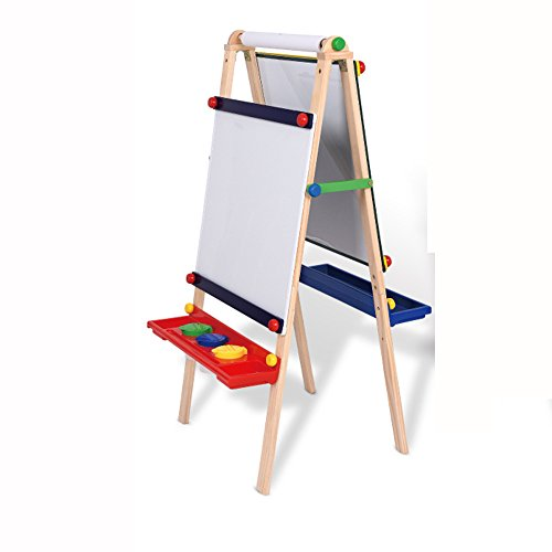 QFFL Easel Massivholz Kinder Reißbrett Set Lift Bracket-Stil Kleine Tafel doppelseitige Magnettafel Sketchpad Staffeleien