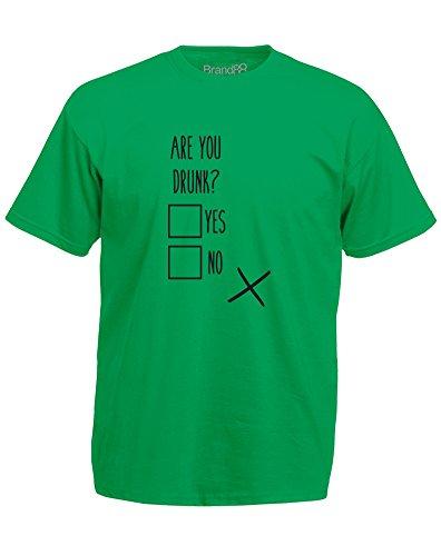 Brand88 - Are You Drunk?, Mann Gedruckt T-Shirt Grün/Schwarz