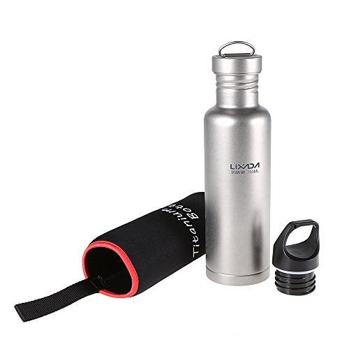 Lixada 500 ml / 750 ml Titan Wasserflasche mit Extraplastik Deckel Ultraleicht Outdoor Camping Wandern Radfahren Wasserflasche