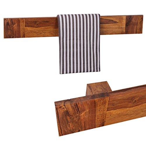 WOHNLING Handtuchhalter Massivholz Sheesham 110 cm Wand-Regal Landhaus-Stil Bad-Zubehör Badezimmer-Möbel Natur-Produkt Badregal Design Handtuchstönder Naturholz unbehandelt Badablage zum Aufhöngen