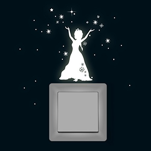 Wandtattoo Lichtschalteraufkleber Lichtschaltertattoo Leuchtsticker Eiskönigin Schneekönigin Frozen fluoreszierend M1648 ilka parey wandtattoo-welt®