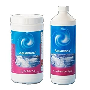 41Gvc4Z74VL. SS300  - Happy Hot Tubs Aquablanc 1l Combination Liquid and 1kg O2 Tablets Hot Tub Chlorine FREE Non
