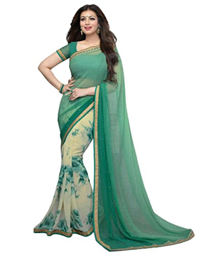 Vedant Georgette Saree (A3_Green_Green)