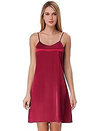 Zexxxy Mujer Camisón Ropa Interior de Dormir Cuello V Encaje Pijama