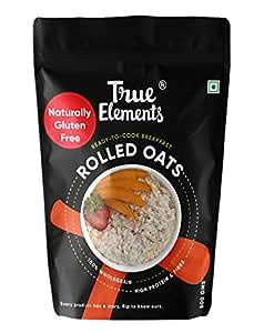 True Elements Rolled Oats 500g - Gluten Free Oats | Cereal for Breakfast | Healthy Food | Plain Oats