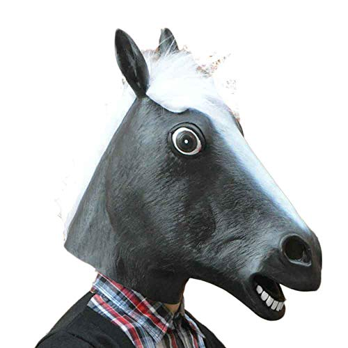 Arzt Pferd Kostüm - Sayla Halloween Maske Pferd Maske, Pferdekopf Maske Halloween Maske Latex Tiermaske Pferdekopf Pferd Kostüm (Schwarz)