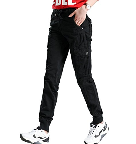 Ghope Damen Hose Camouflage Baumwolle-Mix Lange Camouflage Elastische Hose Stretch Hosen (Größe Wählbar W29-W38) Schwarz
