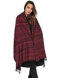 Merino Wool Handspun Stripey Oversize Scarf