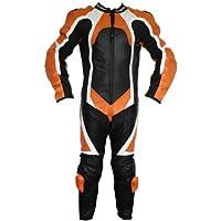 Einteiler Motorradkombi Motorrad Lederkombi aus Rindsleder echtleder Kombi Orange, Herrengröße:54