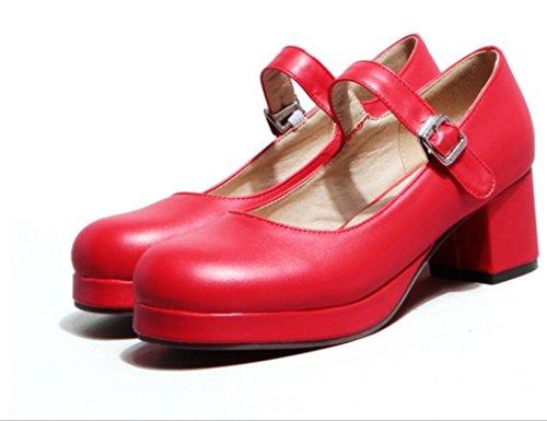 YCMDM Femmes Chaussures Rondes bouche superficielle Simple Chaussures Etanchéité red
