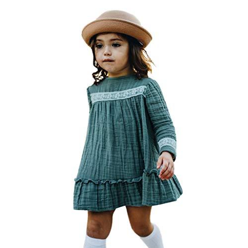 Der Für Woche Kleinkind Kostüm Buch - Livoral Madchen Kleider festlich Kleinkind scherzt Baby-Lange Hülsen-Feste Spitze-Rüsche-Prinzessin Dress Clothes(Grün,100)