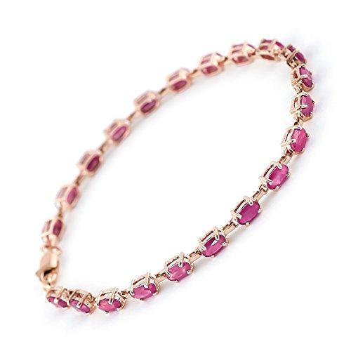 QP joailliers Rubis Naturel Bracelet en or rose 9carats, 8.0CT Coupe ovale-3556r