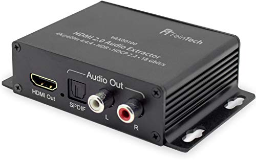 FeinTech VAX00100 HDMI 2.0 Audio Extractor Konverter digital Toslink Cinch EDID 4K HDR 18Gbps Schwarz -