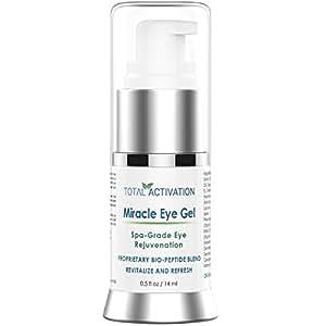 Total Activation Anti Wrinkle Miracle Eye Gel, Collagen Toner, Age Spot Remover for Dark Circles Under Eyes, Men & Women, 0.5 oz