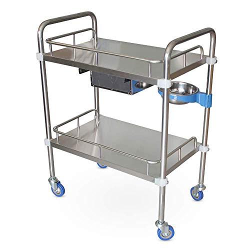 ZLL Krankenhauswagen, medizinischer Bedarf Rack-Medical Cart Tool Mobiler medizinischer Wagen für Krankenhäuser mit Schmutzkübel, 2-Stufen-Rollwagen aus rostfreiem Stahl für den Schönheitssalon mit S