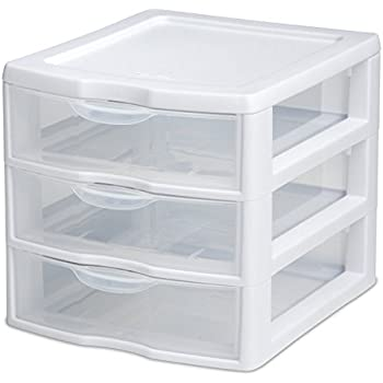 plastic drawer organizer sterilite 3 drawer mini unit 20738006 clear co uk 28910