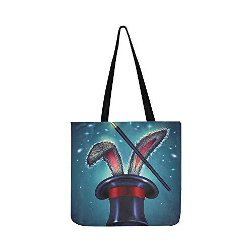 (Oster-Hasenohren aus Magic Hat Canvas Tote Handtasche Schultertasche Crossbody Taschen Geldbörse für Damen und Herren Einkaufstasche)