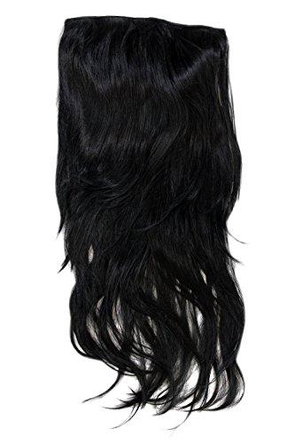 Wig me up - clip nelle estensioni dei capelli, set 7 pezzi, 3/4 della parrucca liscia e nera, lunghezza: 60 cm. h9505-1