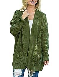 YOGLY Gilet Femme Long Basic Manches Longues Pull Classique Cardigan Tricot  Couleur Unie Veste Outwear pour 2dd8e96b0d5
