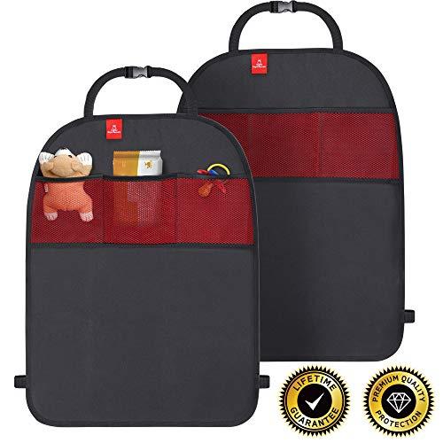 ROYAL RASCALS | 2 tapis anti choc | Protège la tapisserie des sièges de voiture| Poches de rangement | Taille universelle | Protection à toute épreuve des chocs et taches | PRODUIT PREMIUM