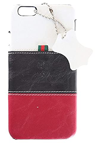 3Q iPhone 6 Hülle iPhone 6S Hülle Luxus Klasse Handy-Hülle Etui in hochwertigen Top Premium Leder-Optik Schweizer Premium Design und Verpackung Handy-Tasche Cover Weiss-Schwarz-Rot