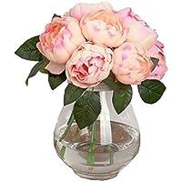 Sanysis 1 x 6 Cabezas Peonía Flores Artificiales Colgantes (Beige)