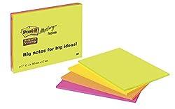 """Post-it """"Super Sticky Meeting Notes"""" extragroße Haftnotizen für kreativen Freiraum in 203 x 152 mm - 4 Notizblöcke à 45 Blatt in Neon Grün & Orange, Ultra Pink & Gelb"""