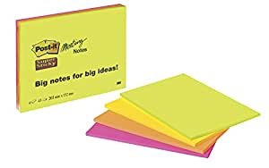 Post it Notes 203 x 152 mm Super Sticky Notes Pad, Green, Pink, Orange, Yellow, 4 pads (45 sheets per pad)