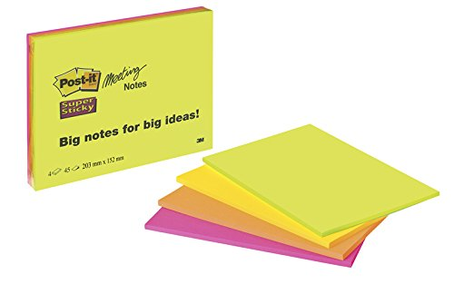 "Post-it""Super Sticky Meeting Notes\"" extragroße Haftnotizen für kreativen Freiraum in 203 x 152 mm – 4 Notizblöcke à 45 Blatt in Neon Grün & Orange, Ultra Pink & Gelb"