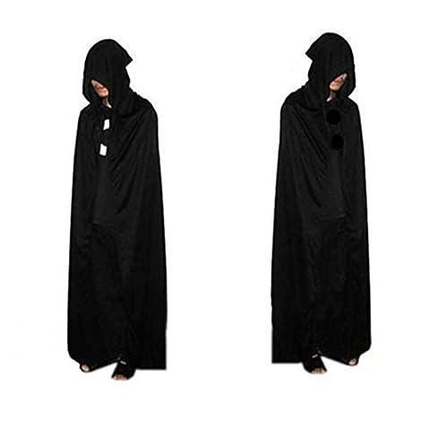 Morbuy Damen Herren Halloween Umhang Satin Karneval Fasching Kostüm Cape mit Kapuze Vampir Kostüm Halloween Erwachsener (Dickensian Kostüm Frauen)