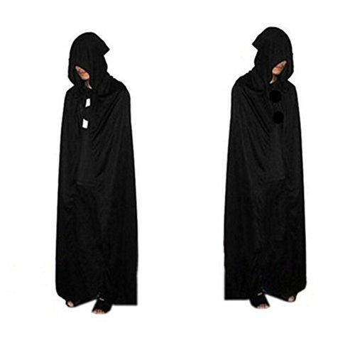 Morbuy Damen Herren Halloween Umhang Satin Karneval Fasching Kostüm Cape mit Kapuze Vampir Kostüm Halloween Erwachsener (Ninja Kostüm Teenager Mädchen Für)
