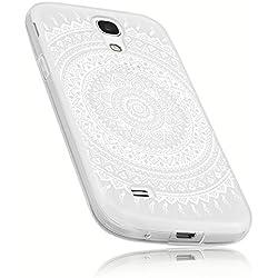 mumbi Hülle kompatibel mit Samsung Galaxy S4 Mini Handy Case Handyhülle mit Motiv Mandala Weiss, transparent