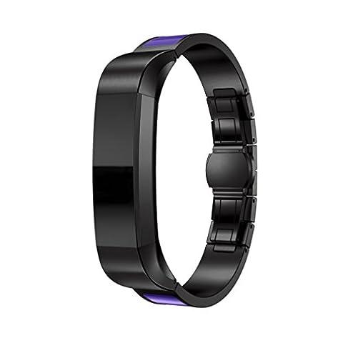 Fitbit Alta Band, 10principales réglable en acier inoxydable Sports Bracelet de montre bracelet, accessoires de remplacement pour Fitbit Alta/HR tracker de fitness M Black - D