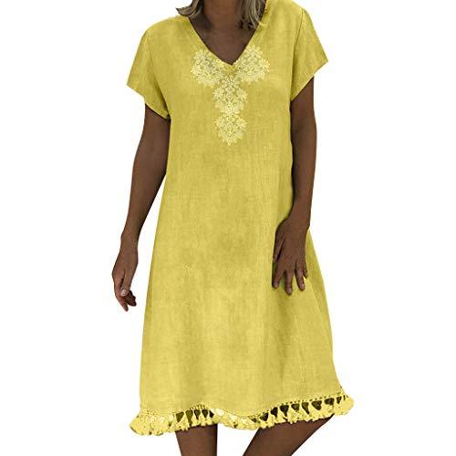 SHINEHUA Damen Leinenkleid Sommer V-Ausschnitt Boho Strandkleid Ethnisch Stammes Tassel Sommerkleid Freizeitkleid Baumwolle Leinen Knielang Kleider Elegant Partykleider Cocktailkleider