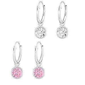 2 Paar Kinder Ohrringe 925 Silber Ohrhänger Mädchen Pink und Klar mit Zirkonia Stein