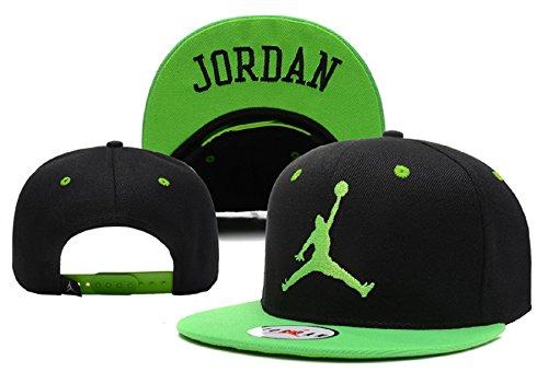 Cappello Air Jordan regolabile Hip Hop Sport Fans Hyst Unisex eresen cappellino da Baseball (Nero, Verde bordo)