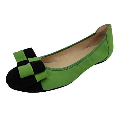 Ballerine Donna Eleganti Pelle Nere Vernice Con Bianche Verde Giallo 0392-2 (Prego Premere l'immagine Sinistra Per Misurare la Lunghezza del Piede,Taglia Quindi Selezionare) Verde