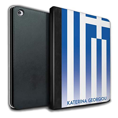 eSwish Personalisiert Individuell National Nation Flagge 3 PU-Leder Hülle für Apple iPad Air 2 / Griechenland/Griechisch Design/Initiale/Name/Text Tablet Schutzhülle/Tasche/Etui -