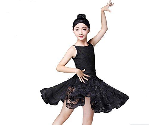Kostümball Latino pro Bambini Kostüm Spettacolo von Pizzo Abito Senza Maniche Gonna von Spettacolo Bianco Rosso Nero, 160cm, ()