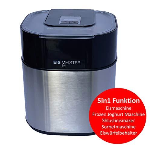 PerfectMix EISMEISTER Eismaschine Eis-creme zum selber machen,für 4 Personen,5in1 Machine - Speiseeismaschine Speiseeisbereiter mit 1,5 L Fassung, Sorbet Maschine, Frozen Joghurt, Softeis, Ice Maker
